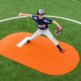Pitcher striding on 6-inch game mound